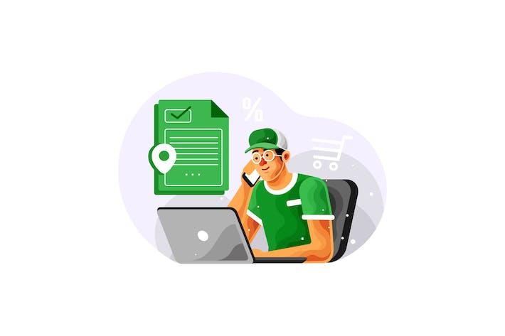 Thumbnail for Shopping Online via Cellphone Vector Illustration