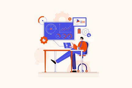 Online Trading - Vector Illustration Concept