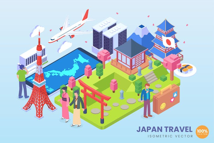 Thumbnail for Isometric Japan Travel Holiday Vector Concept