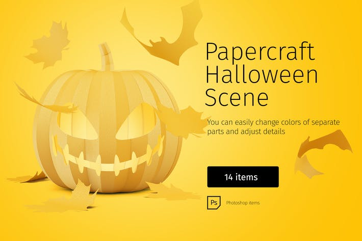 Thumbnail for Papercraft Halloween Scene