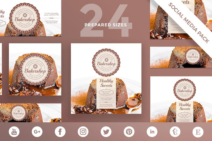 Thumbnail for Baker Shop Social Media Pack Template