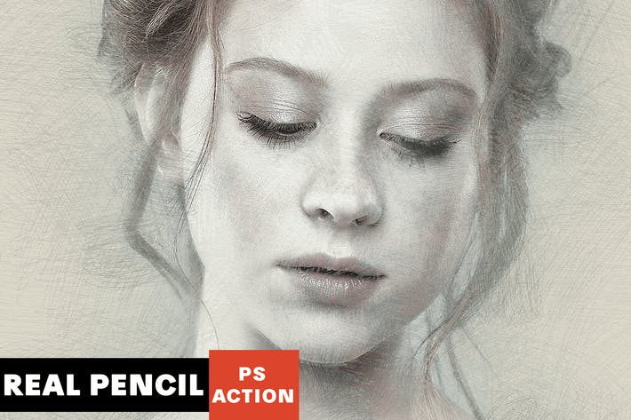 Thumbnail for Real Pencil Photoshop Action