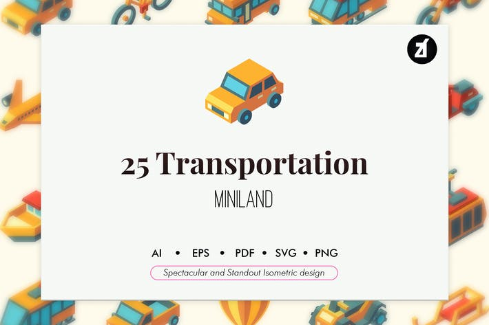 Thumbnail for 25 Transportation isometric elements