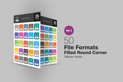 50 File Formats Filled Round Corner Icons