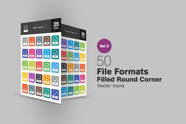 Thumbnail for 50 File Formats Filled Round Corner Icons