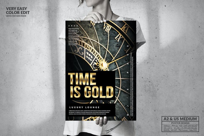 Thumbnail for Time is Gold - Big Poster Design