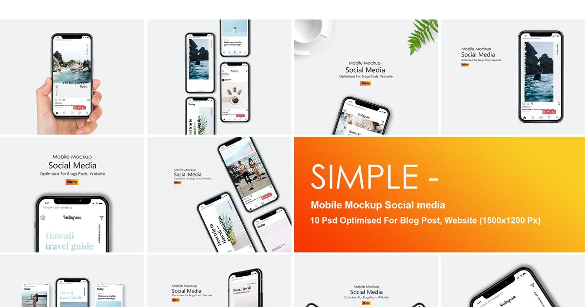Download Simple - Mobile Mockup Social Media by GraphicGata