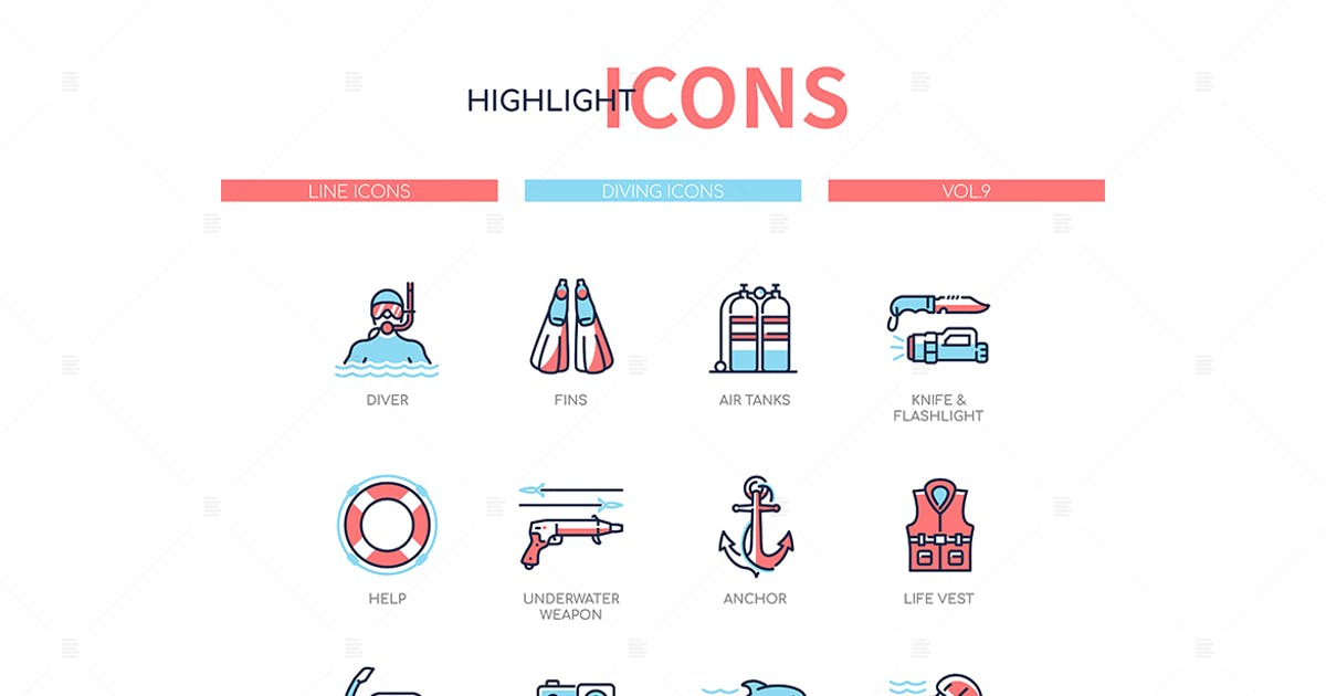 Download Diving - modern line design style icons set by BoykoPictures