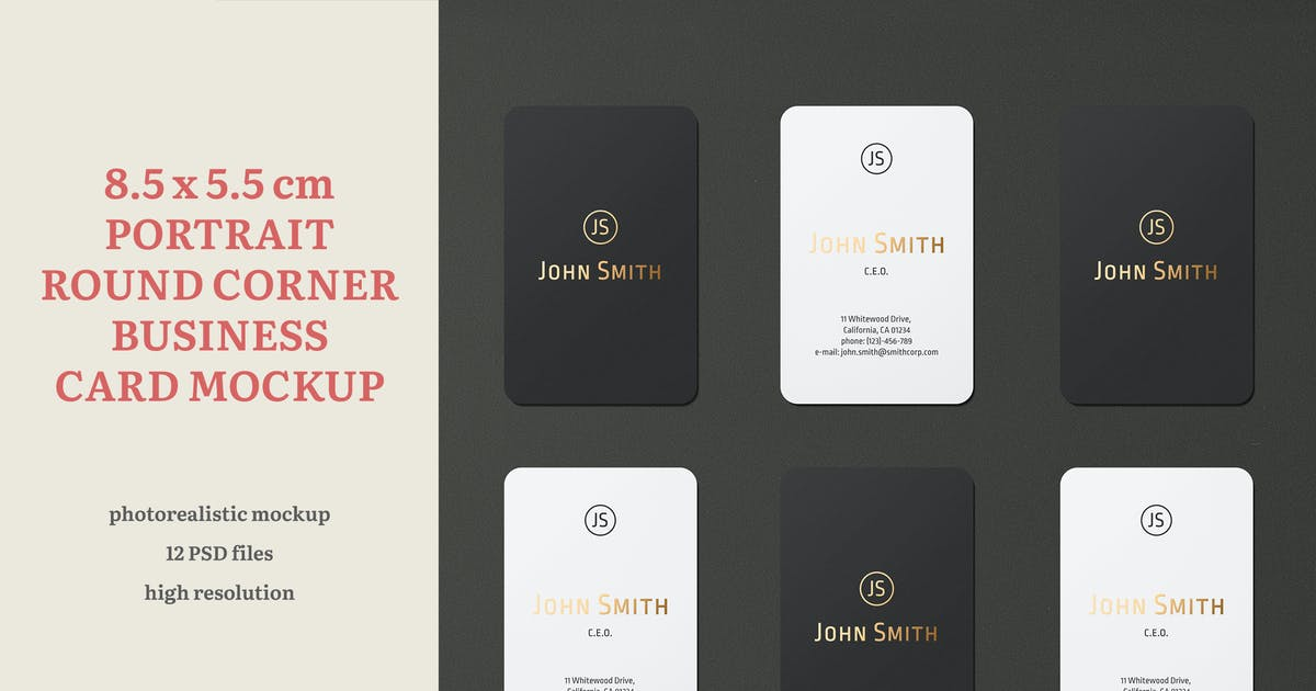 Download 8.5x5.5 Portrait Round Corner Business Card Mockup by professorinc