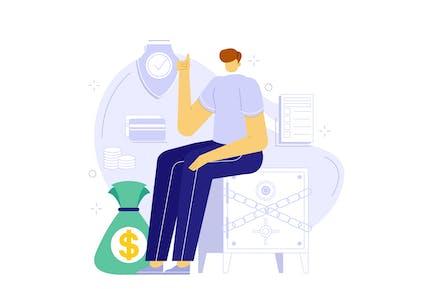 Save Money Safely - Flat Illustration