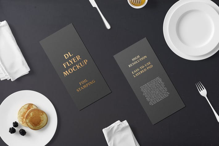 Thumbnail for DL Flyer With Foil Stamping Mockup - Breakfast Set