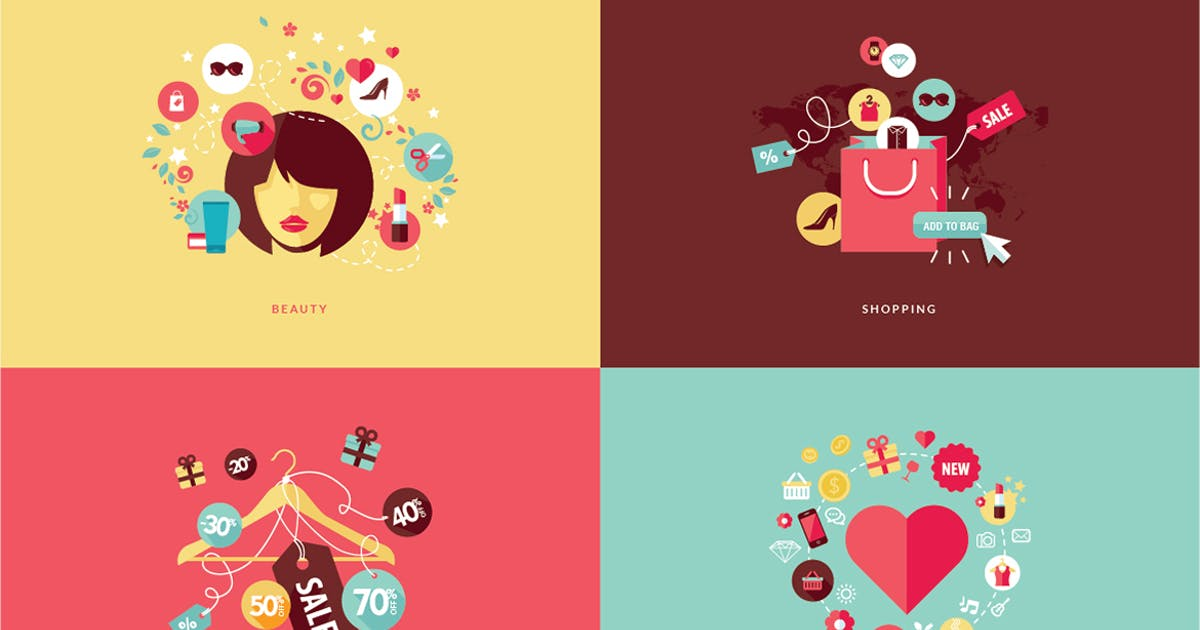 Download Set of Flat Design Concept Icons by PureSolution
