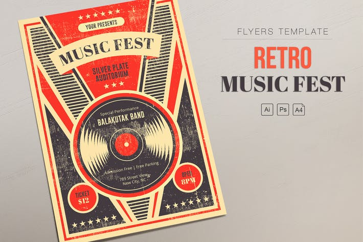 Thumbnail for Ретро музыка Fest - Виниловые Листовки