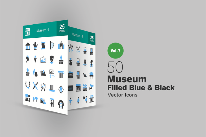 Thumbnail for 50 Museum Blue & Black Icons