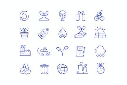 Ökologie Minimale Icons