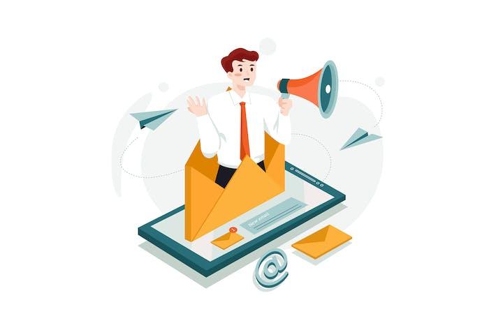 Konzept der E-Mail-Marketing-Illustration.