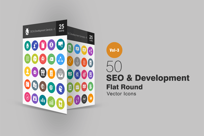 Thumbnail for 50 SEO & Development Flat Round Icons