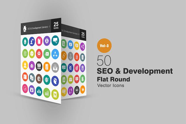Thumbnail for 50 SEO & Development Flat Round Icons