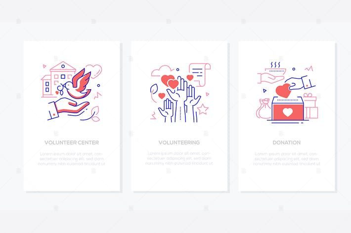 Thumbnail for Volunteering - line design style banners