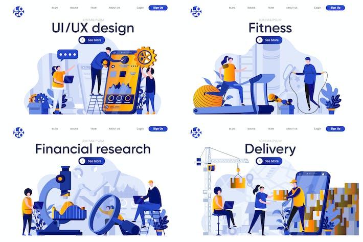Thumbnail for Concepto plano de la página web de la Colleción con personas