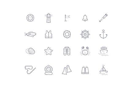 vector linear icons on the marine theme