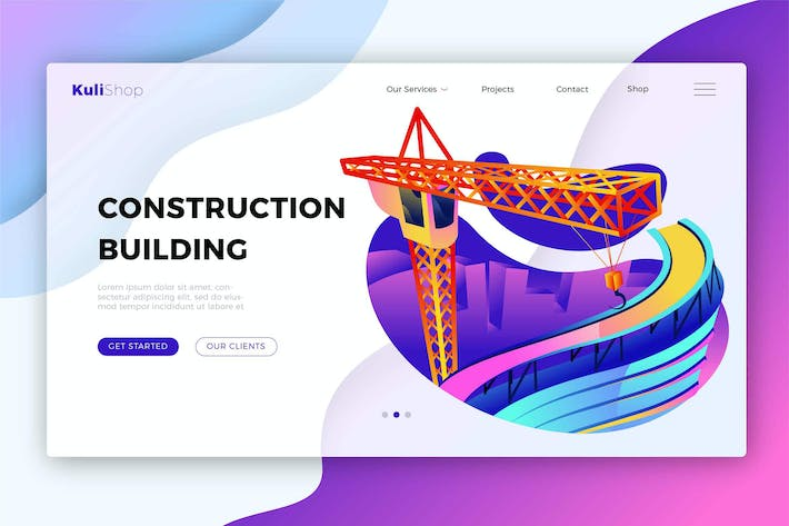 Construction Building - Banner & Landing Page