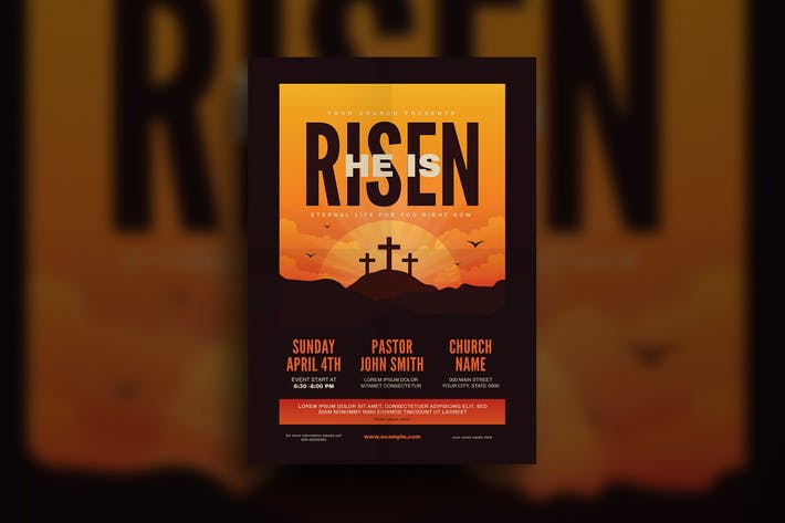 Thumbnail for He is Risen Church Flyer