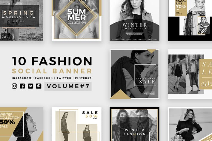 Thumbnail for Fashion Social Media Banners - Kit 07