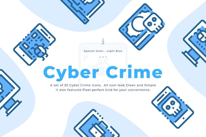 Cover Image For 30 Cyber Crime Icons - Light Blue