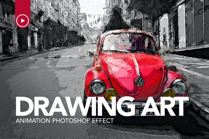 Thumbnail for Drawing Art Animation Photoshop Action