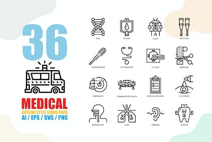 Medical Outline Style Icon set