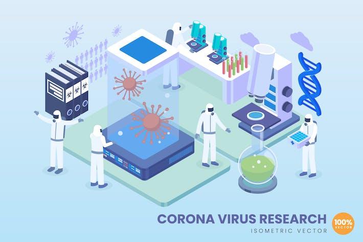 Thumbnail for Isometrische Corona-Virenforschung Vektor konzept