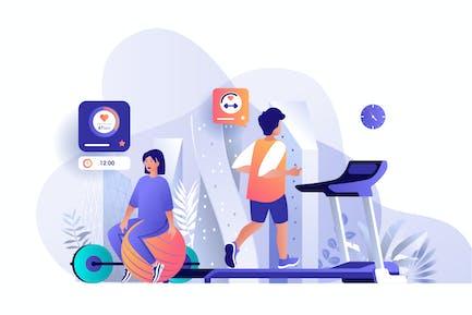 Athleten im Fitnessstudio Flach Web Illustration