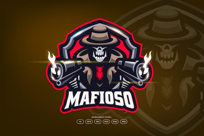 Thumbnail for Italian Mafia Skull Gangster With Gun