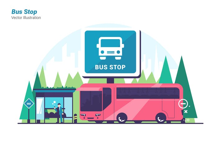 Bus Stop - Vector Illustration