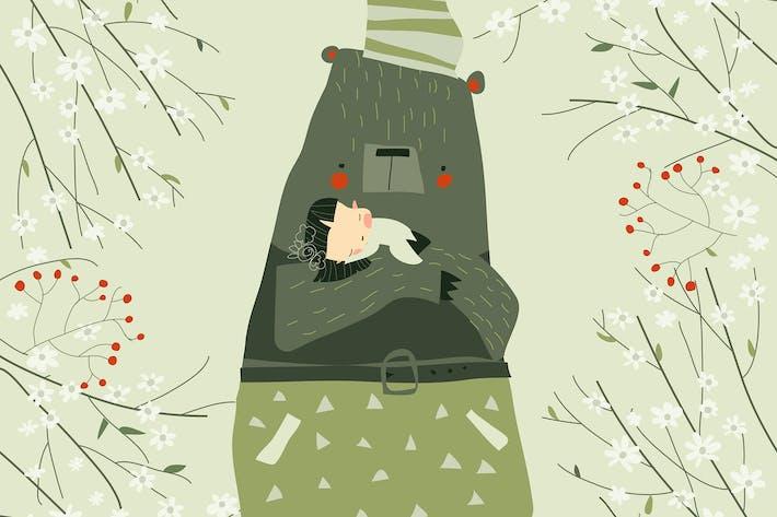 Thumbnail for Cute cartoon bear hugging sleeping girl in blossom