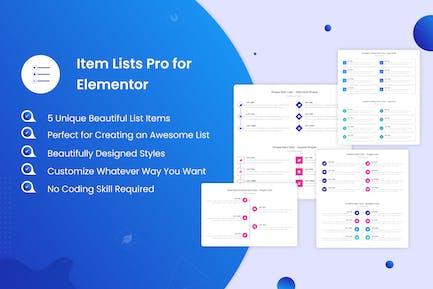 Item Lists Pro for Elementor