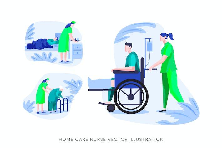 Homecare Nurse Vector Character Set