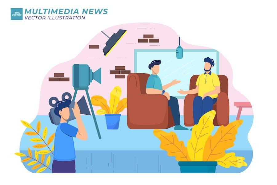 Multimedia News Flat Illustration