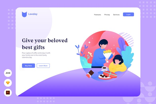 Gift - Website Header - Illustration