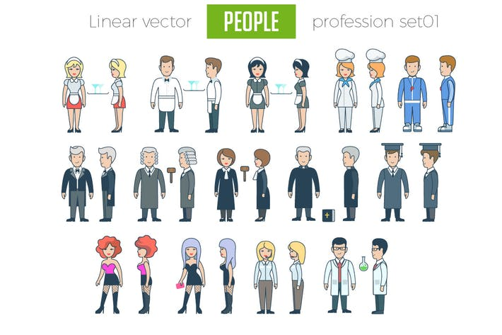 Thumbnail for Linear Vector People Profession set 01