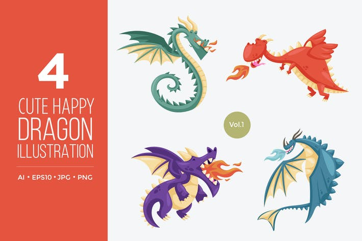 Thumbnail for Cute Happy Dragon Vector Character Set 1