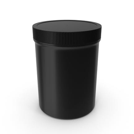 Plastic Jar Wide Mouth Straight Sided 8oz Closed Black