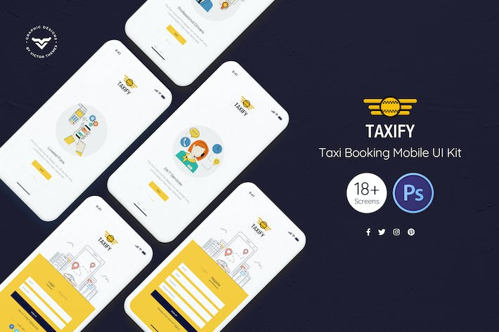 Thumbnail for Taxi Booking App UI Kit