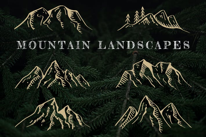 Hand-Drawn Mountain Landscapes