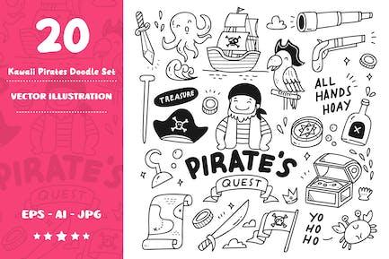 Kawaii Piraten-Doodle-Set