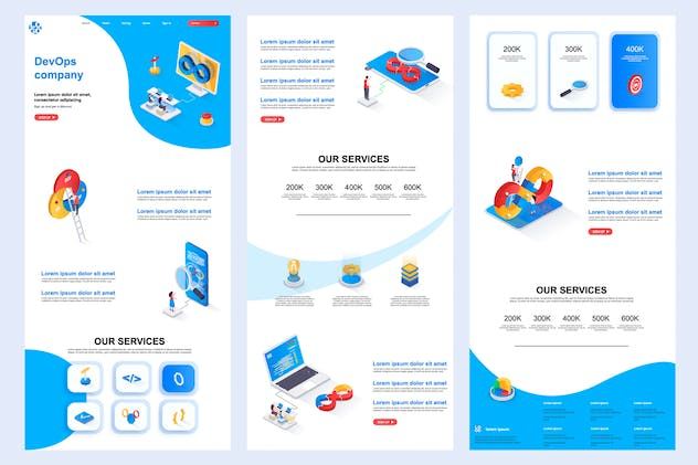 DevOps Company Isometric Landing Page Template