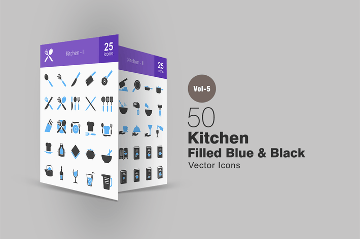 Thumbnail for 50 Kitchen Blue & Black Icons