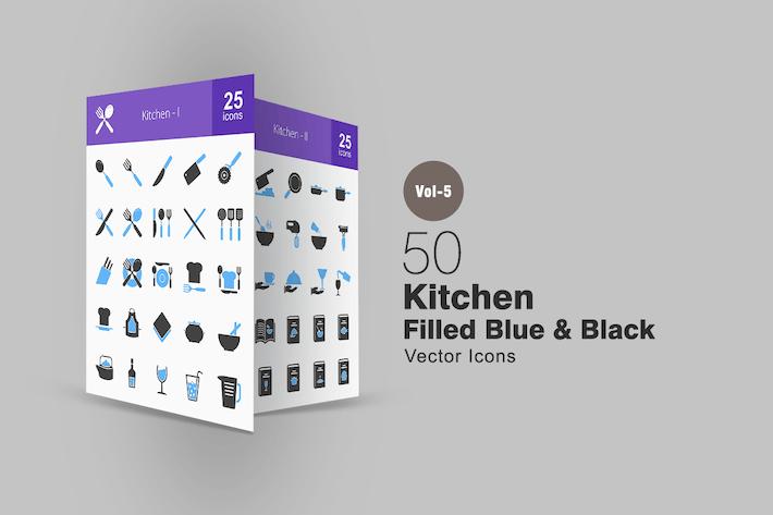 Thumbnail for 50 Kitchen Blue & Black Icons