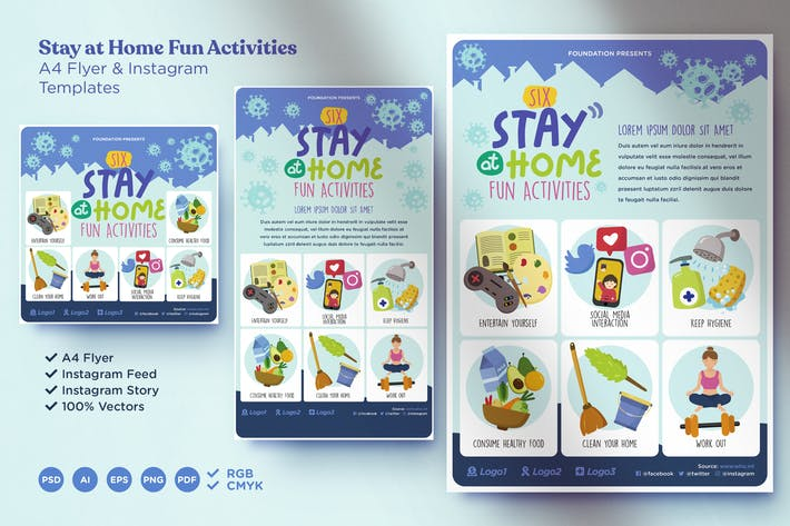 Stay at Home Fun Activity Campaign Templates